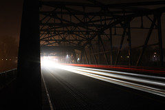 (perfect landing) Tags: longexposure bridge light red urban white mist color minnesota fog night canon rebel long slow traffic bright steel trails minneapolis atmosphere ne line mpls northeast mn lowry nordeast