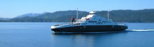 Miniature Norwegian Ferry in Fjord