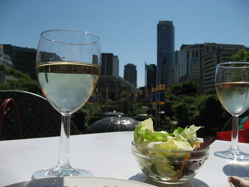 Downtown Vancouver with wine