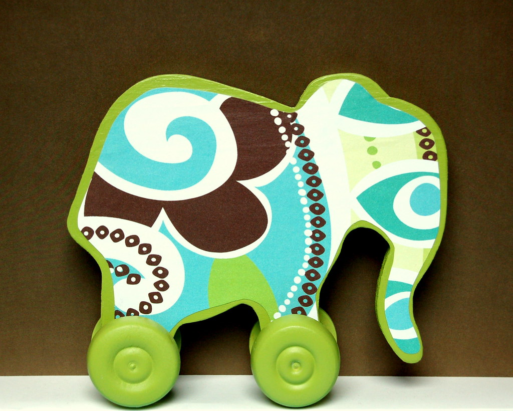 Wooden Elephant Push Pull Toy PAISLEY PUNCH