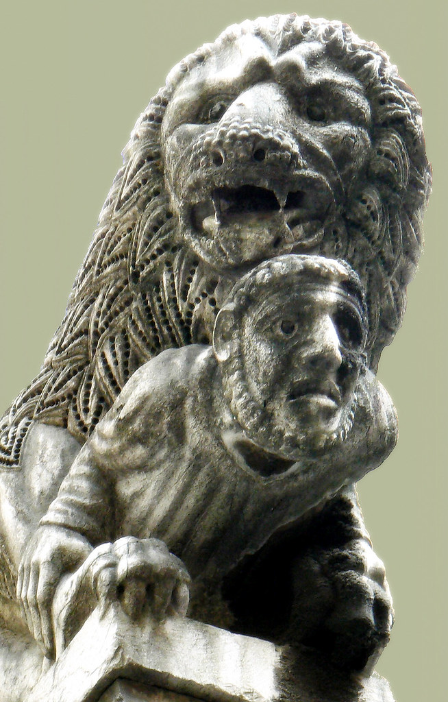 lion, man, defeated, trouble, sculpture, lucca, tuscany, church