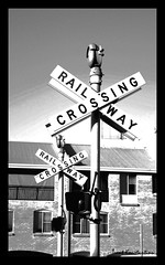 Railway Crossing (Kostas Image) Tags: blackandwhite bw white signs black train canon photography eos lights oldstyle crossing cross south shed railway australia trent perth western wa fremantle postproduction teenage traincrossing railwaycrossing kostas athanasios 450d canoneos450d