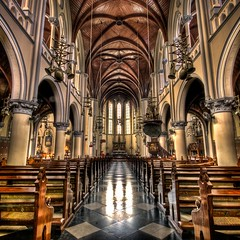 The Catholic Cathedral - HDR (Ageel) Tags: old longexposure trip travel reflection history church colors d50 indonesia square lens asian big nikon colorful asia cathedral squares tripod religion churches sigma wideangle explore jakarta christianity 1020mm hdr sigma1020mm longexp  photomatix tonemapping explored  thecatholiccathedral ageel