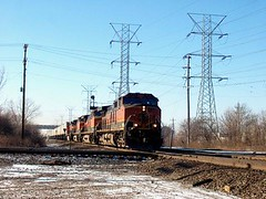 Eastbound BNSF Railway trailer train speeding through Mc Cook Junction. Mc Cook Illinois. January 2007.
