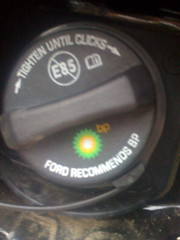 "Gas Cap: ""FORD RECOMMENDS BP"""