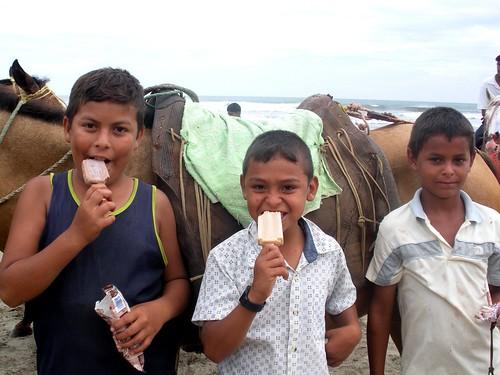 cowboys eating ice cream