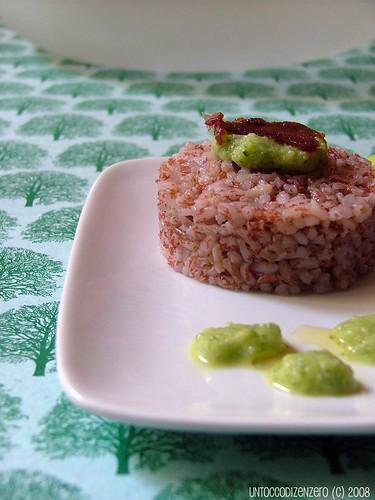 Un piatto per Terra Madre:riso rosso Andasibe, crema di zucchine e bottarga