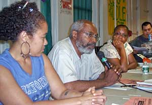 LeiLani Dowell of FIST, Abayomi Azikiwe, Editor of the Pan-African News Wire and Monica Moorehead, Managing Editor of Workers World Newspaper, at a study forum on African history in New York City on July 11, 2008. (Photo: John Catalinotto). by Pan-African News Wire File Photos