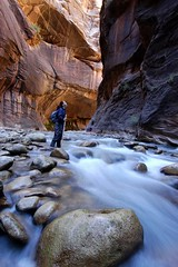 Woman hiking a slot canyon in the Narrows, Zion National Park