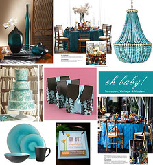 Turquoise and Brown Baby Shower (Tastefully Entertaining) Tags: brown cake turquoise invitation decor favor tablesetting placesetting ohbaby babyshower entertaining centerpieces tastefullyentertaining