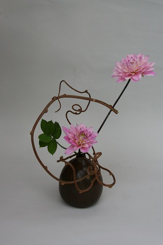 Ikebana with dahlias