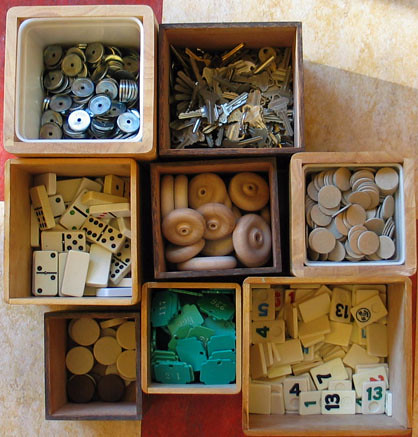 Game Pieces, Keys, Buttons, Wood