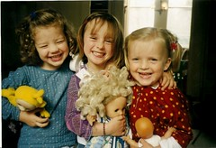 Three young girls laughing (lambertwm) Tags: family girls friends portrait cute smile smiling laughing fun toys dolls child snapshot daughter young scan laugh predigital analogue viewcount teletubbie bestshotever laughingbch cannotbeimproved lwmfav
