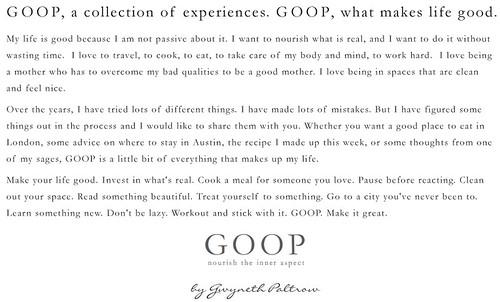 GOOP.com mission statement?