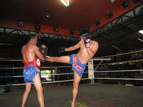 Right kick by one of the better fighters in the region