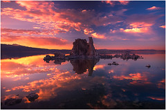 Fire Reflections (kevin mcneal) Tags: california sunset lake mountains color weather clouds sierras monolake bishop easternsierras tufas supershot colorphotoaward unature unaturefav theperfectphotographer kevinmcneal