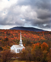 Two things that are definitely Vermont (Zeb Andrews) Tags: autumn fall film colors landscape vermont churches newengland stowe kodakportra160vc vt pentax6x7 bluemooncamera zebandrews takumar200mmf4 wintermaybelongtotheevergreenbutfallisallaboutdeciduous itsalleyecandy zebandrewsphotography