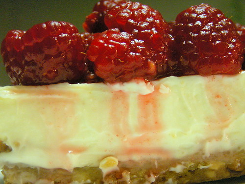 raspberries on cheesecake