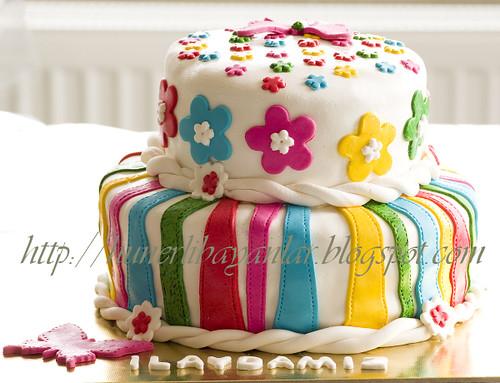 Renkli - Çiçekli Pasta