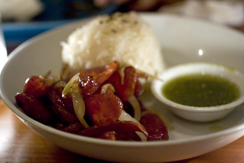 Sautéed chinese sausage with thai chili-lime sauce