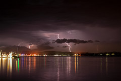Looking over Swansea NSW Australia (ImageBud) Tags: longexposure lake storm water weather night canon dark newcastle australia lightning thunder lakemacquarie 40d blacksmithsbeach camdub