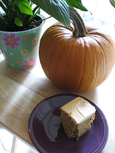 Pumpkin Loaf with Honey Frosting, Chowing