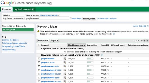 Google's New Search Based Keyword Tool
