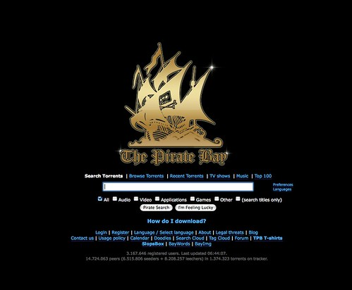 The Pirate Bay home screen