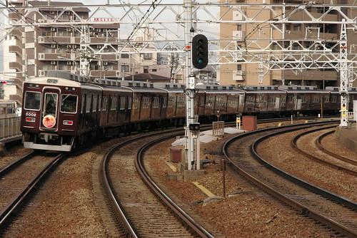 Hankyu5000series in Nakatsu,Osaka,Osaka,Japan 2008/11/22