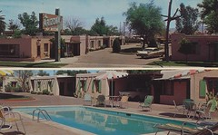 The Arizona Motel - Phoenix, Arizona (The Pie Shops Collection) Tags: arizona cactus phoenix sign umbrella vintage postcard motel vanburen poolview dualview