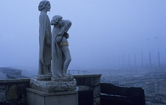 Statues in the mist (kkitsos) Tags: park city mist castle history tourism monument statue museum architecture europe hungary traditional budapest tourist architectural baroque buda constructional