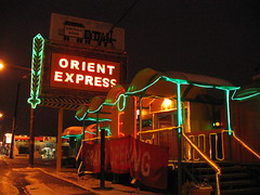 Orient Express restaurant on an icy night in December. Photo by Wendi.