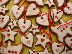 Gingerbread biscuits (neviepiecakes) Tags: cookies painted gingerbread biscuits fondant christmastreedecorations christmas2008