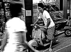 '70 (Monia Sbreni) Tags: street travel bw woman man blancoynegro thailand donna asia chinatown strada vespa noiretblanc zwartwit bangkok bn uomo thai movimento schwarzweiss thailandia pretoebranco bianconero biancoenero reportage blancinegre svartvitt blackandwithe moniasbreni