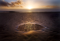Puddle In The Sand (BarneyF) Tags: sunset seascape reflection beach water pool liverpool landscape puddle sand bravo merseyside crosbybeach superaplus aplusphoto