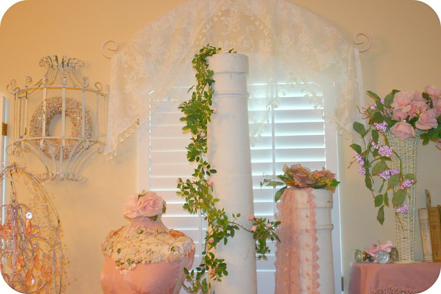 pink roses vintage lace columns dressform shabbychic rosegarland vintagewhitecolumns whitewickervase lacevalance