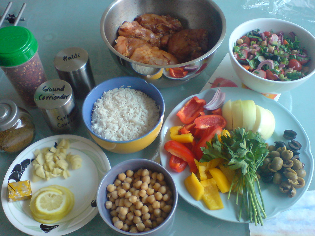 Ingredients for Moroccan-style chicken bake