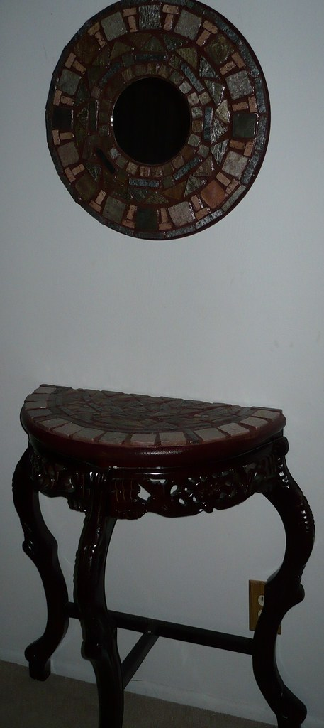 Cherry Wood Table with Mirror to Match