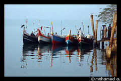 fishing boat-1 (MOHAMED A.) Tags: morning travel blue light people india color colour travelling art nature colors reflections river landscape boat fishing kerala puzha
