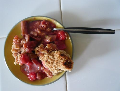 Rhubarb Sour Cherry Crisp