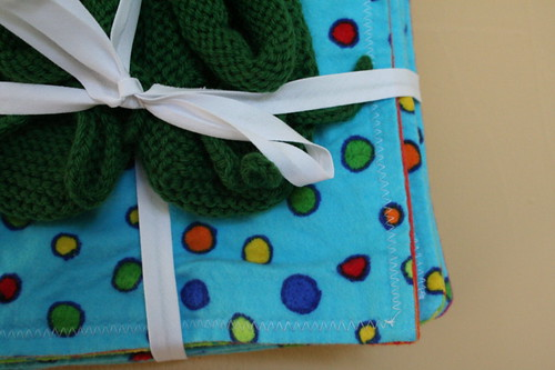 Baby booties and flannel wipes