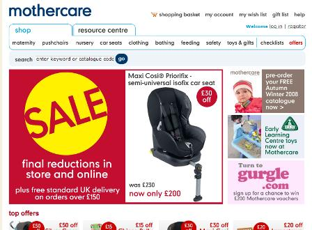 Mothercare homepage