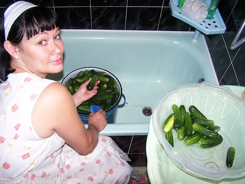 Edna cleaning cucumbers