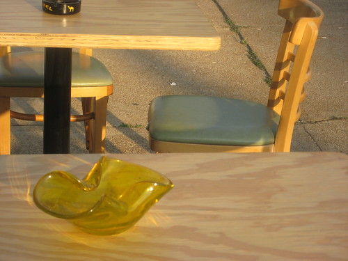yellow ashtray