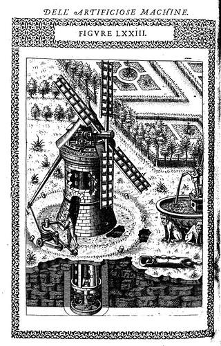 05- Otra forma de una máquina que puede hacer subir el agua de un pozo encima de una torre, con el viento