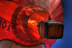 Hot Air over Denver (Thad Roan - Bridgepix) Tags: blue red sky festival fire colorado basket hotair balloon denver lookup flame convention envelope burner wicker dnc hdr propane democraticnationalconvention littleton photomatix 200808 rockymountainballoonfestival