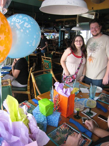 Karen & Adrian with baby gifts