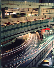 tokyo elevated expressways 2 (Thomas Birke) Tags: light berlin cars night fire tokyo neon escape traffic thomas apo 8x10 300mm l expressway roads elevated f56 p2 birke tokio sinar schneiderkreuznach suitengumae symmar