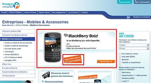 Le Blackberry Bold 9000 sortira le 22 Septembre chez Bouygues Telecom Entreprise !