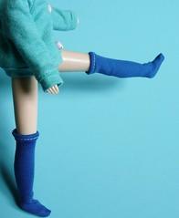 Blue interlock socks